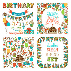 Hand-drawn Happy Birthday Set.