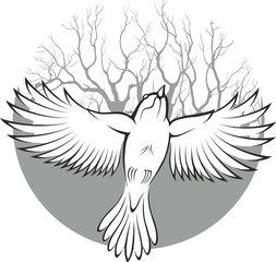 Dove silhouette. Tattoo style. Moon with tree background.