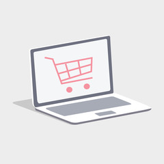 Online Shopping. Buying online with a laptop.
