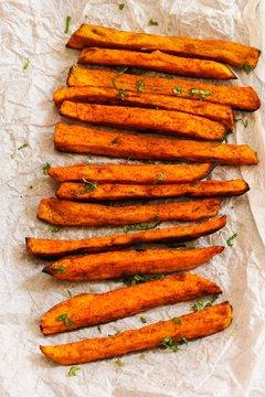 Sweet potato fries, selective focus