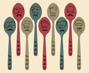 set of nine spoon with chef image