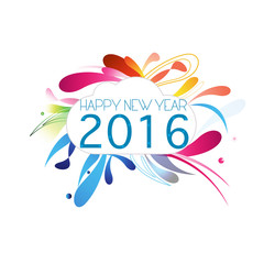 Abstract New Year 2016 white background greeting card vector