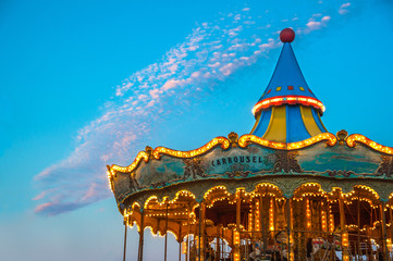 Carousel up on Mount Tibidabo, Barcelona, Spain.