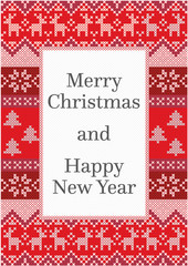 Christmas card design with detailed pattern made from red and white stitches and copy space for a text