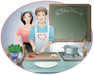 cooking / young couple preparing meal