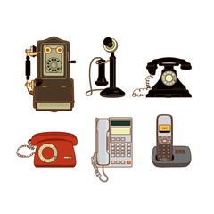 Set of modern and old telephones