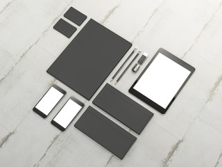 Set of mockup elements on the wood table. Mockup business template