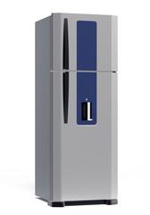 luxury steel refrigerator isolated on white
