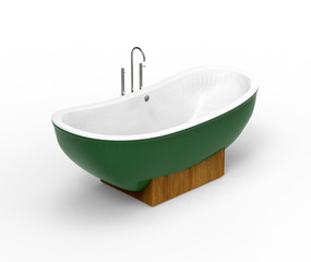Freestanding modern green bathtub