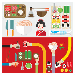 vector set sushi food japan symbol hand and arm