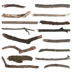 set of old wooden branches isolated on white