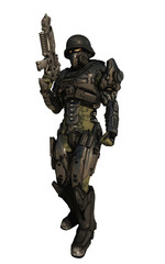 Science fiction illustration of a space marine commando wearing metallic armour isolated on white, 3d digitally rendered illustration