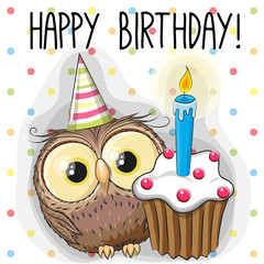 Owl with cake