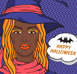 Happy Halloween card with retro african american  witch with speech bubble. Cute redhaired witch in hat pop art comic style vector illustration.