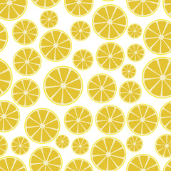 colorful sliced lemon fruits seamless white pattern eps10