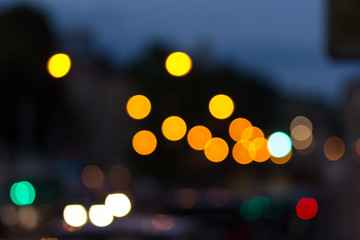 Cityscape bokeh. Background out of focus. Fairy defocused photo. Can use as wallpaper, backdrop design.