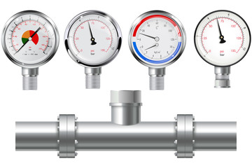 Manometer set and chrome pipe with flange.