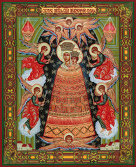 "MOSCOW, RUSSIA - October 9, 2015: orthodox icon of the Virgin ""Mind addition"", a prototype were drawn in the XVII century by the mad artist and recovered"