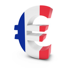 Euro Symbol textured with the French Flag Isolated on White Background