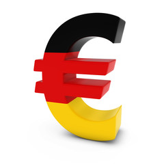 Euro Symbol textured with the German Flag Isolated on White Background