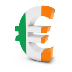 Euro Symbol textured with the Irish Flag Isolated on White Background