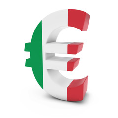Euro Symbol textured with the Italian Flag Isolated on White Background