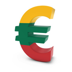 Euro Symbol textured with the Lithuanian Flag Isolated on White Background