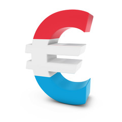 Euro Symbol textured with the Luxembourgian Flag Isolated on White Background