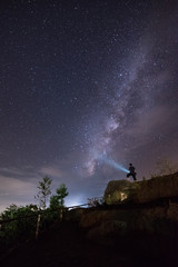 People light up to milky way