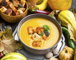 Fall Pumpkin Soup with Croutons and Parsley