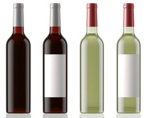 Red and white wine bottles clean and with labels isolated on white background with reflection