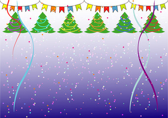 simple Christmas background with Christmas trees,confetti and flags