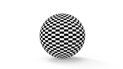 black and white check on a sphere