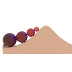 red colored balls on a slope