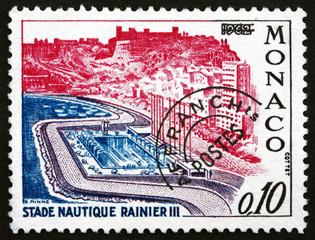Postage stamp Monaco 1964 Rainier III Aquatic Stadium