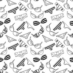 Lingerie seamless pattern. Vector underwear background design. Outline hand drawn illustration. Bras and panties doodle