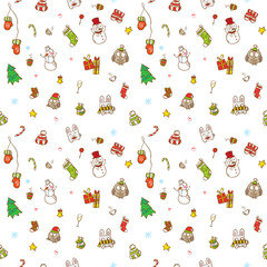 Vector doodle christmas and new year seamless pattern