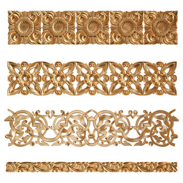 Set of gold pattern. Isolated over white background