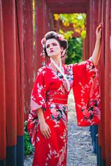 Beautiful woman in geisha costume
