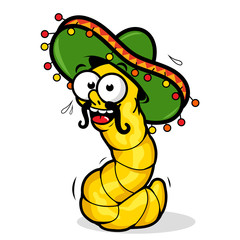Vector illustration of a cartoon tequila worm wearing a sombrero.