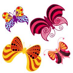 Color butterfly in style zentangle (ethnic, doodle).