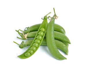 fresh green peas isolated on a white background.