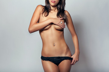 attractive glamour girl nude slim body