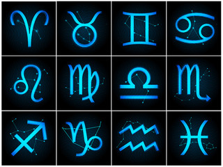 Vector Zodiac signs with stars on