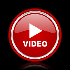 video red glossy cirle web icon on black bacground