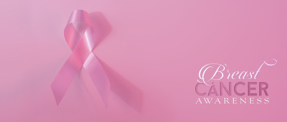 Breast cancer awareness ribbon banner background