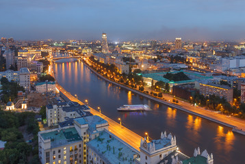 Wall Murals Kiev The evening city of Moscow from a tall building on the embankment of the river