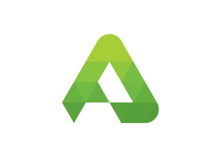 A Letter Green Triangle Leaves Geometric Logo