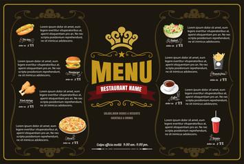 Restaurant Fast Foods menu on brown background vector format eps