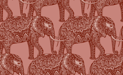 Seamless pattern with stylized ornamental elephants in Indian st